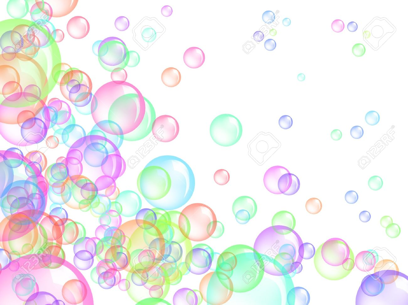 flying colored bubbles on white background stock photo picture and