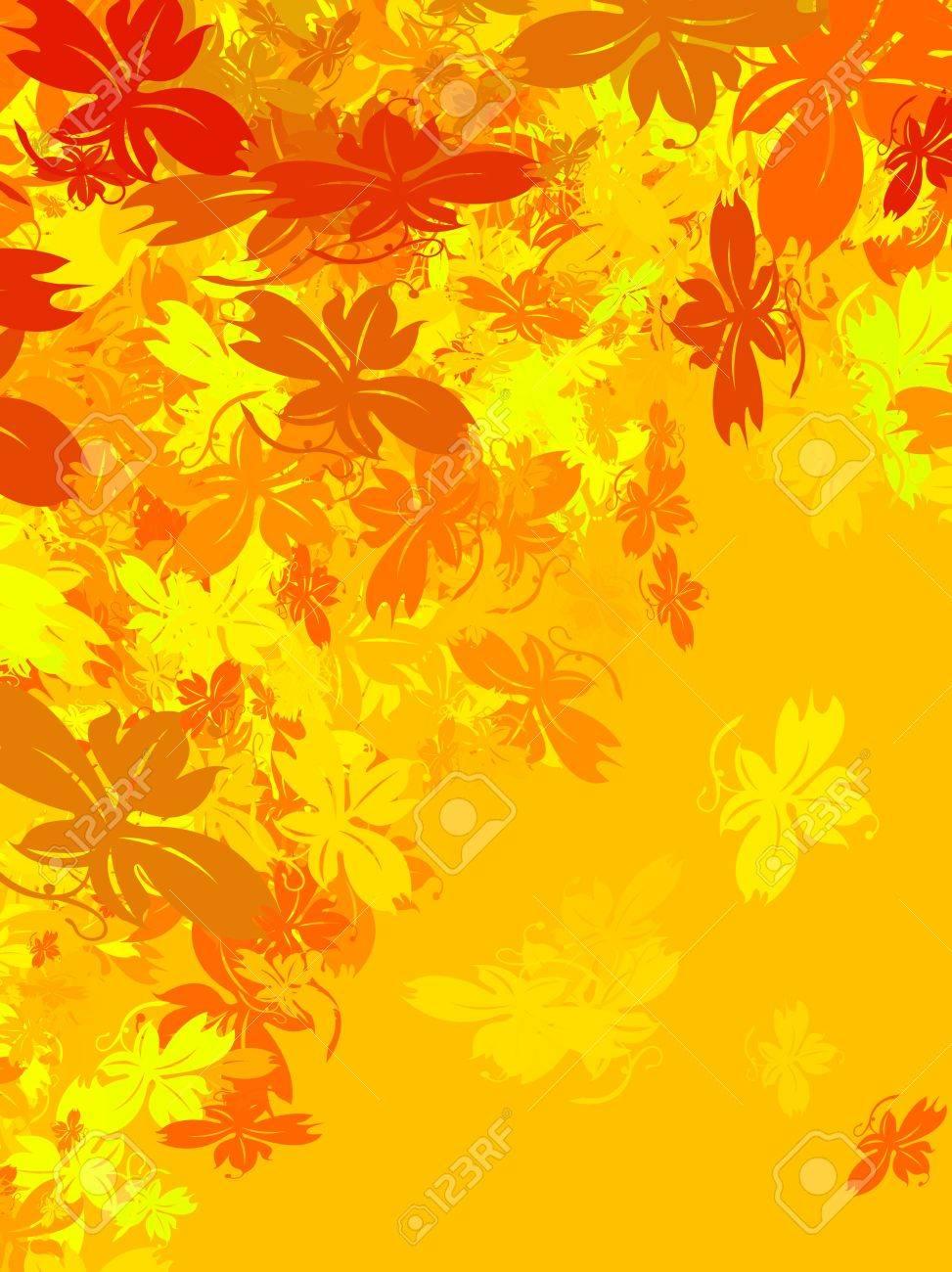 De Fond Avec Des Feuilles D\'automne Tombent. Les Couleurs Chaudes ...