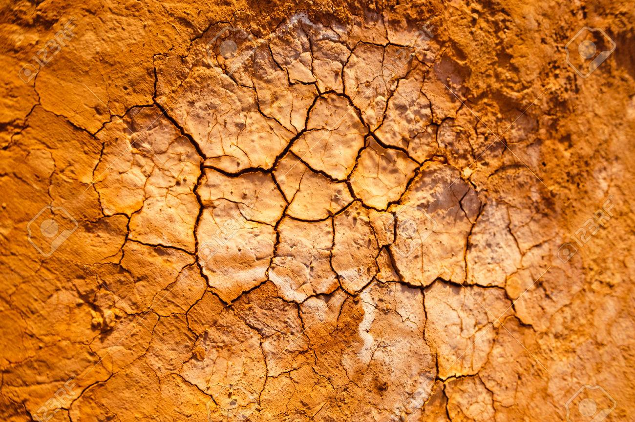 cracked clay ground background of the flaming mountains xinjiang