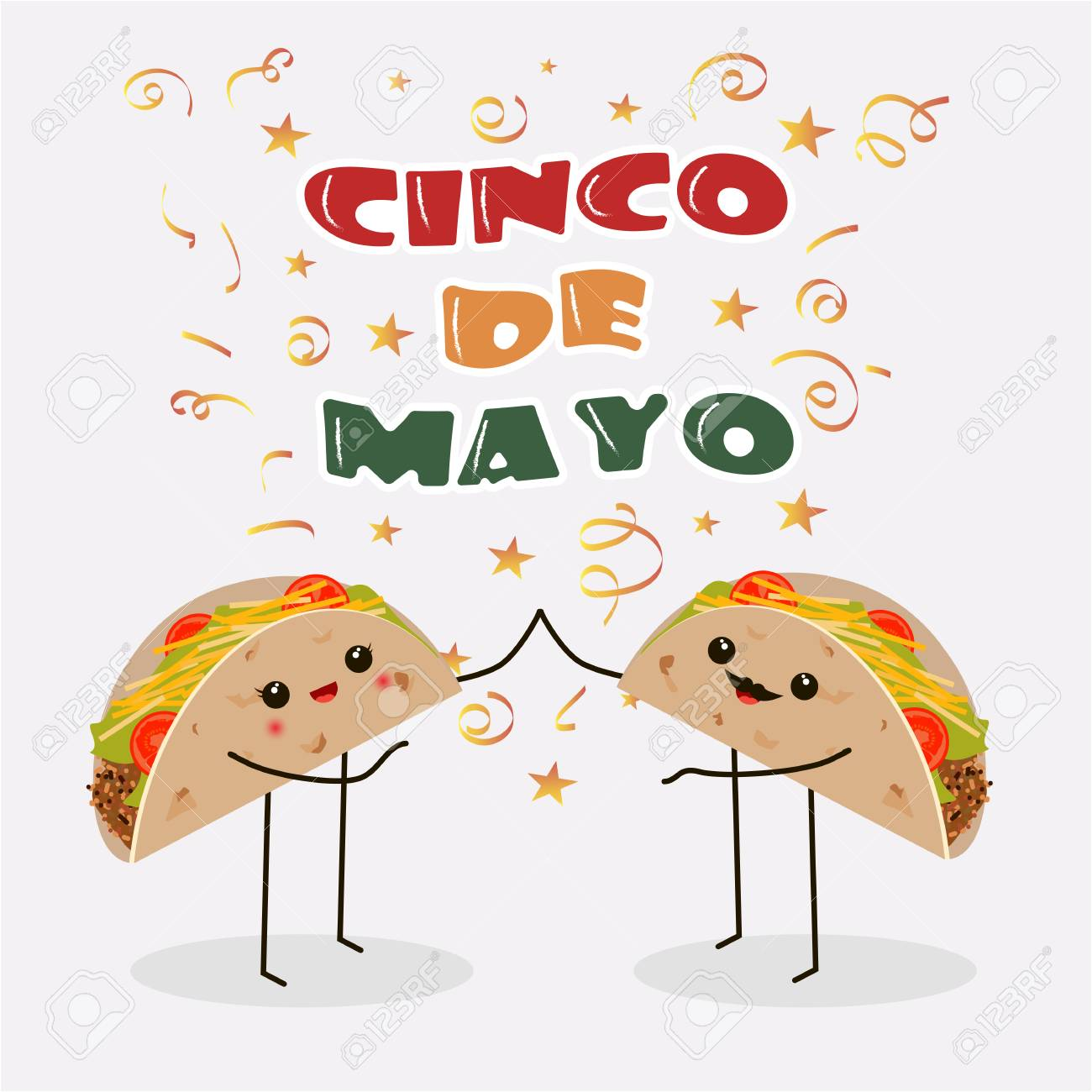 cinco de mayo poster design template with two cheerful tacos