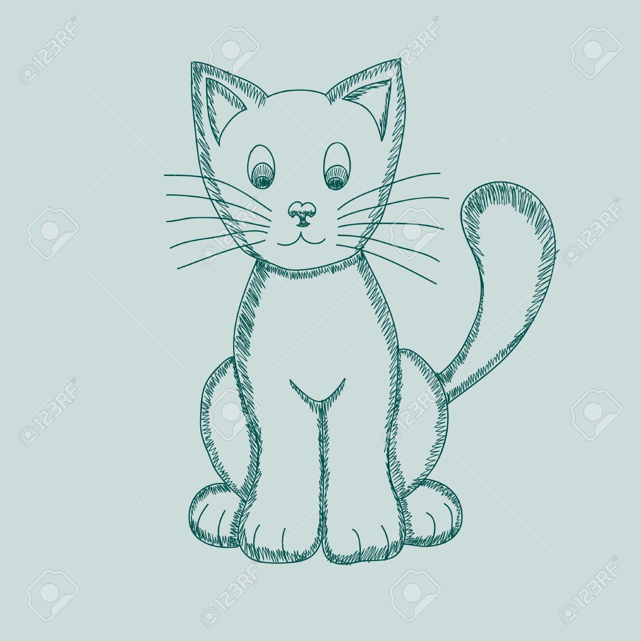 Gato Dibujo Pseudo Lápiz Lindo Ilustración Vectorial De Lindo Gato