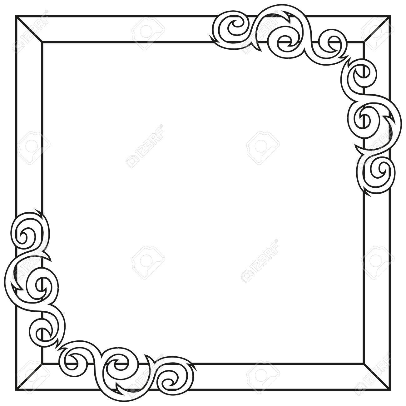 Contorno Decorativo Marco Adornado. Ilustración Vectorial ...
