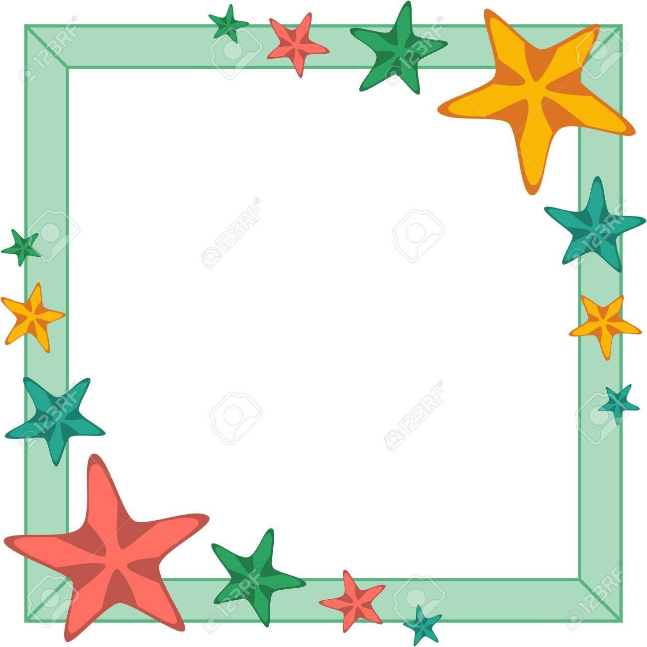 Marco Decorativo Con Las Estrellas De Mar De Dibujos Animados De ...