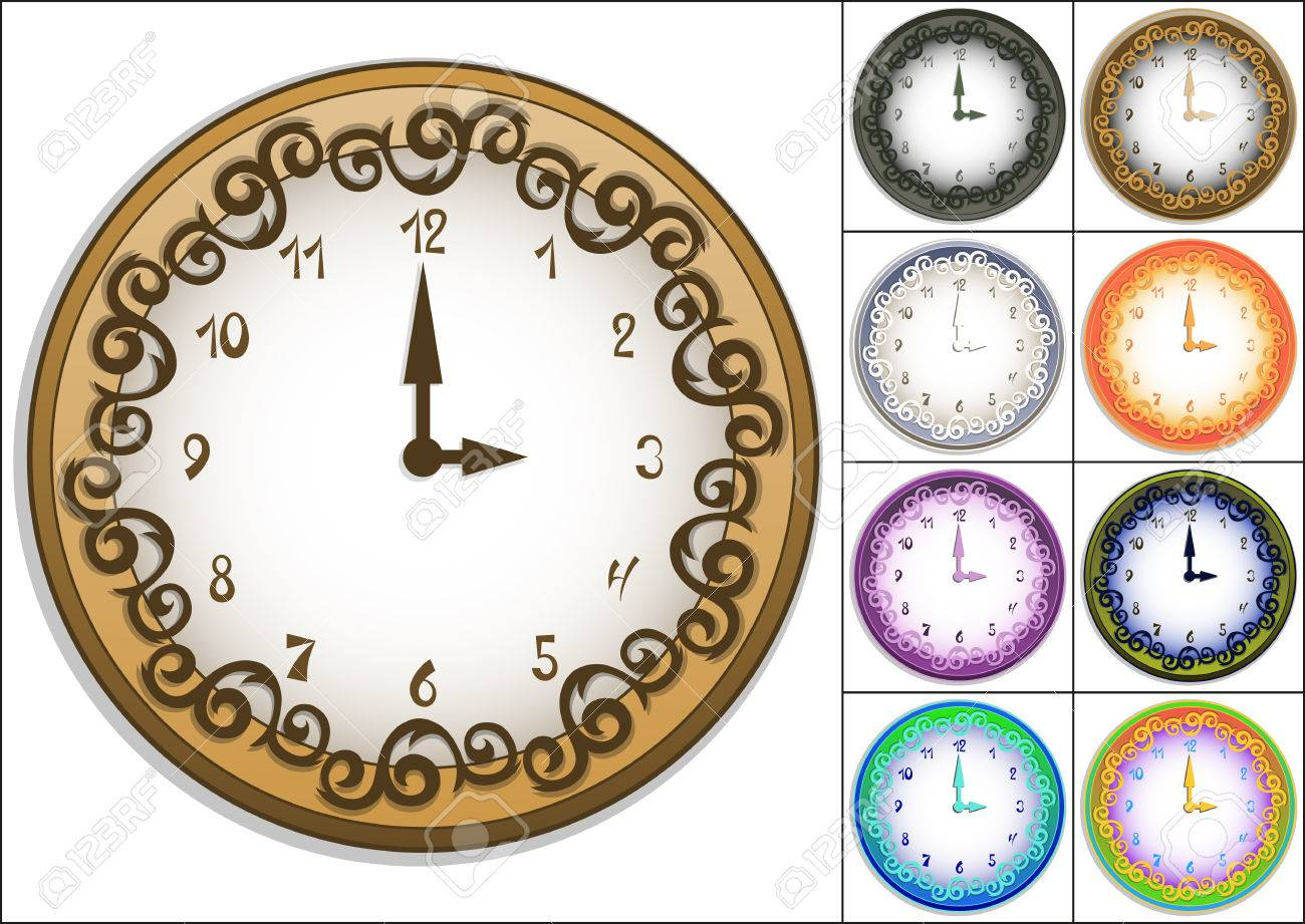Amazing wall clock decorated with ornate pattern - 30067807