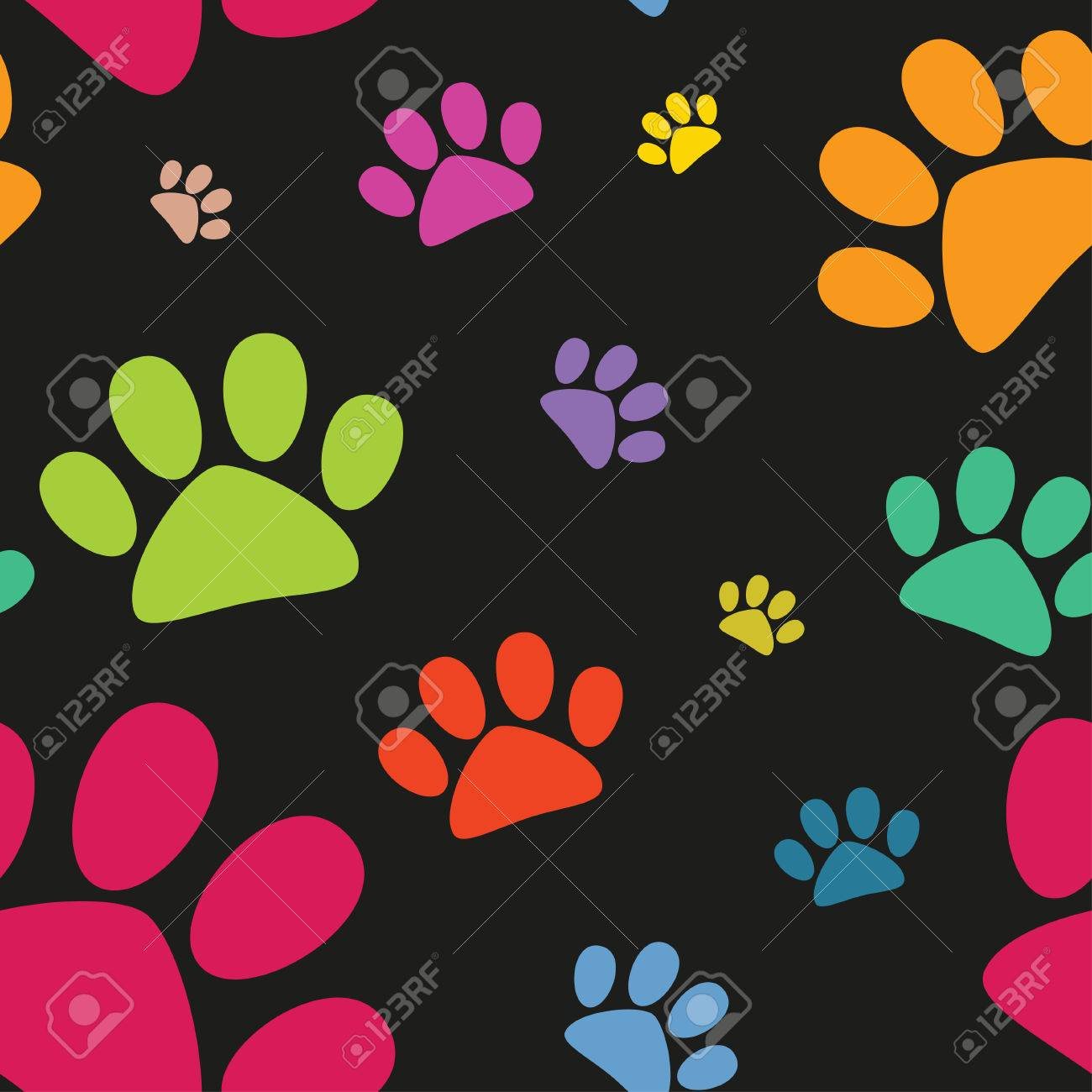 Funny animal footprint seamless pattern - 30067994