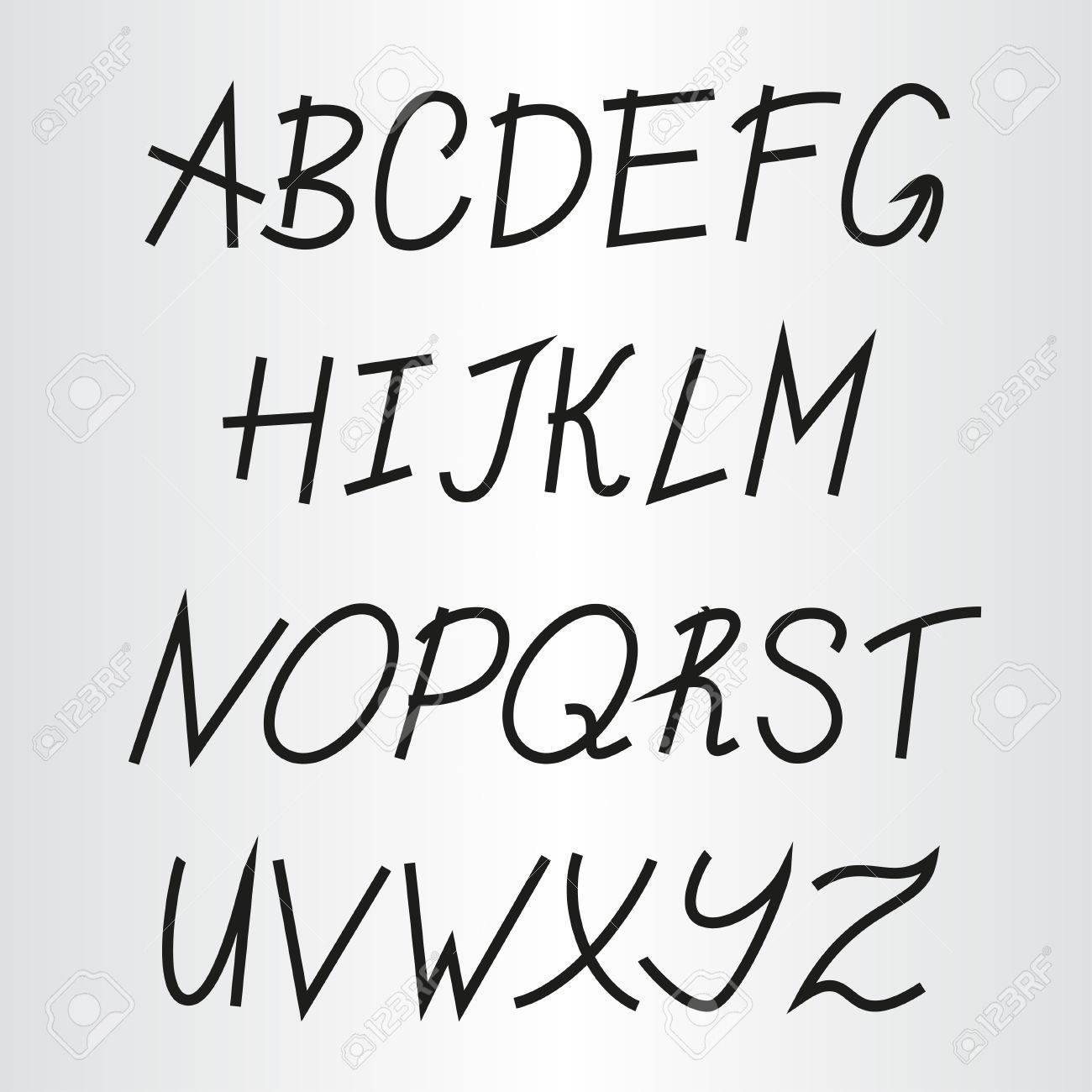 Favorito Scrittura A Mano Alfabeto Disegnato A Mano Dei Caratteri. Clipart  AQ94