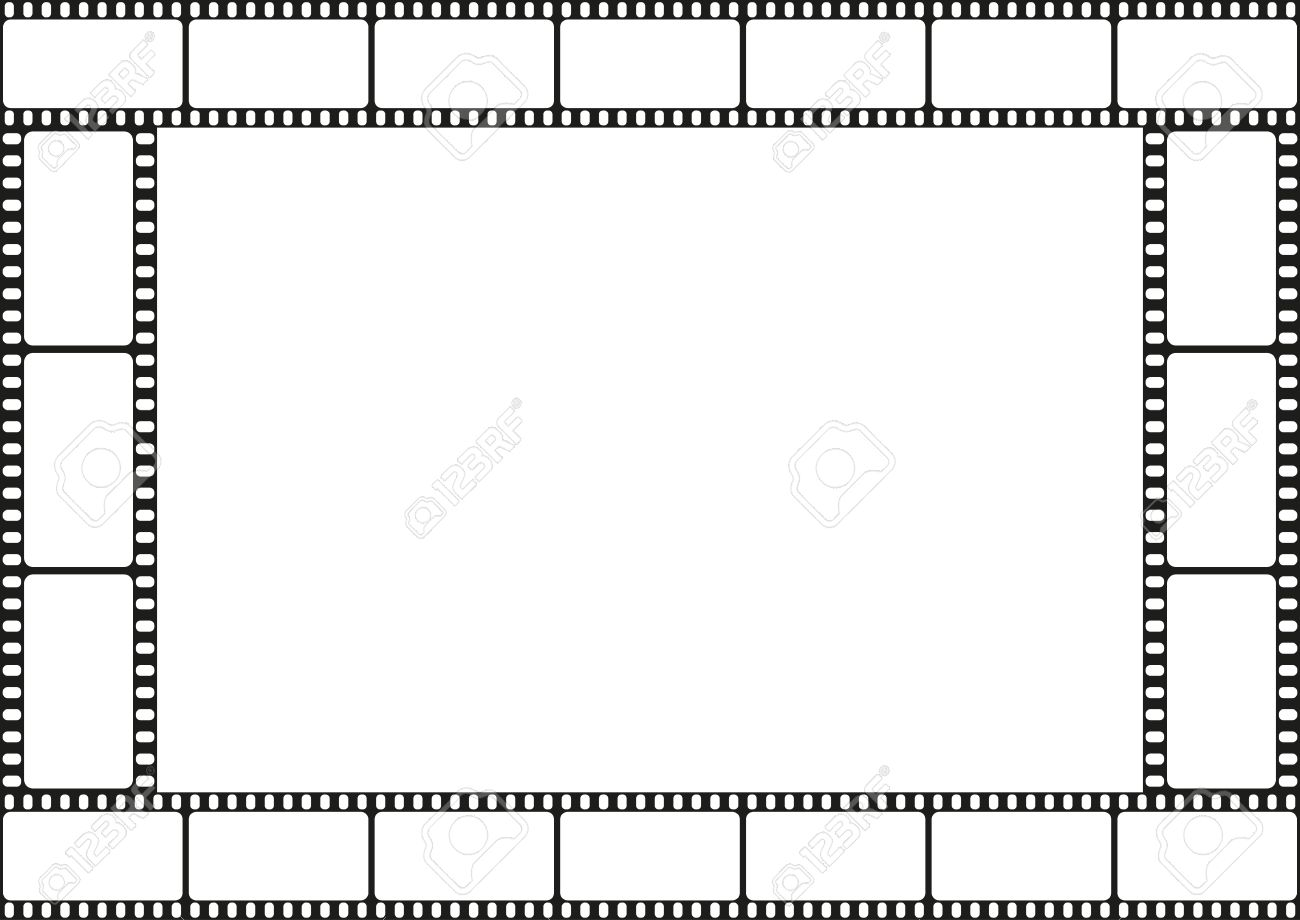 Film Strip Template Border, Movie Theater Frame, Vector Illustration ...