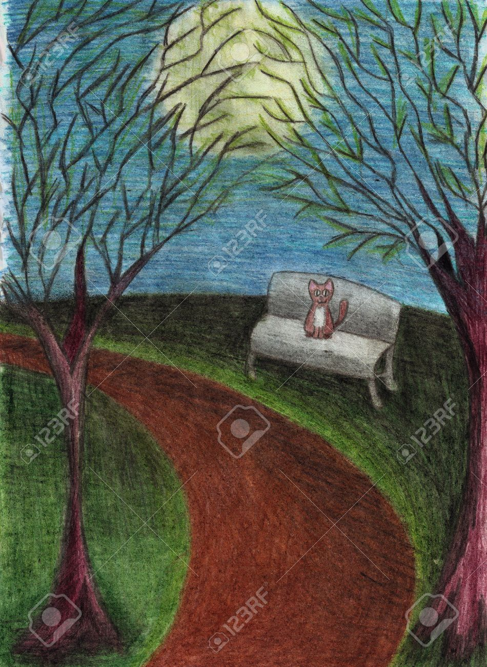Cat in night park, landscape with trees, bench, path, full moon, drawn with colored pencils on paper - 30679588
