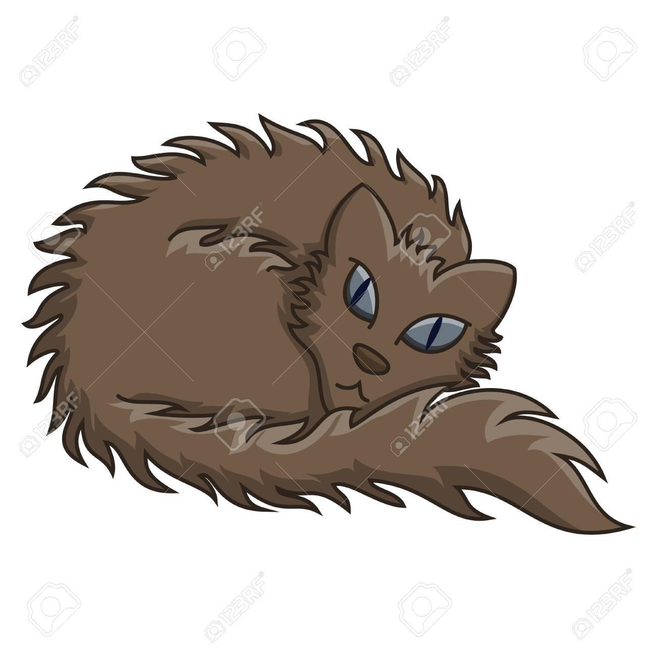 暗い茶色のふわふわした猫 柔らかいウール 透明描画モードとフワフワした猫のベクトル イラストのイラスト素材 ベクタ Image