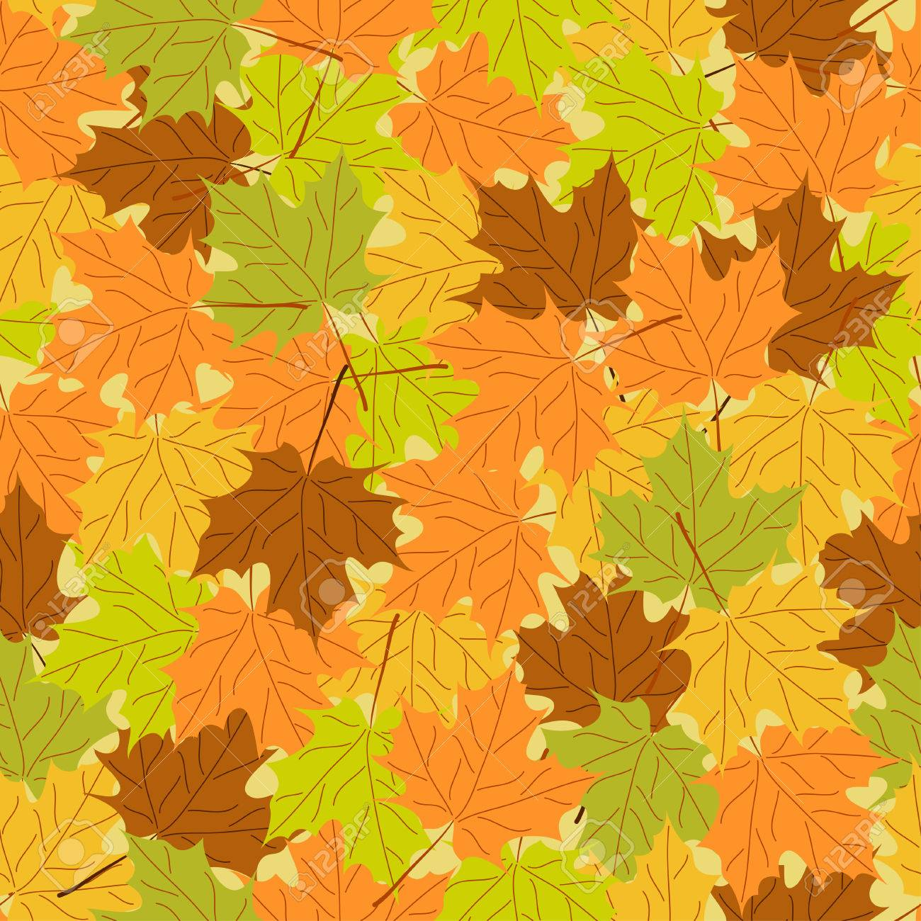 Maple leaf seamless pattern, vector seamless background: autumn maple leaves, vector seamless pattern with leaf, bright autumn background, vintage template, fall leaf theme, vector illustration - 30296191