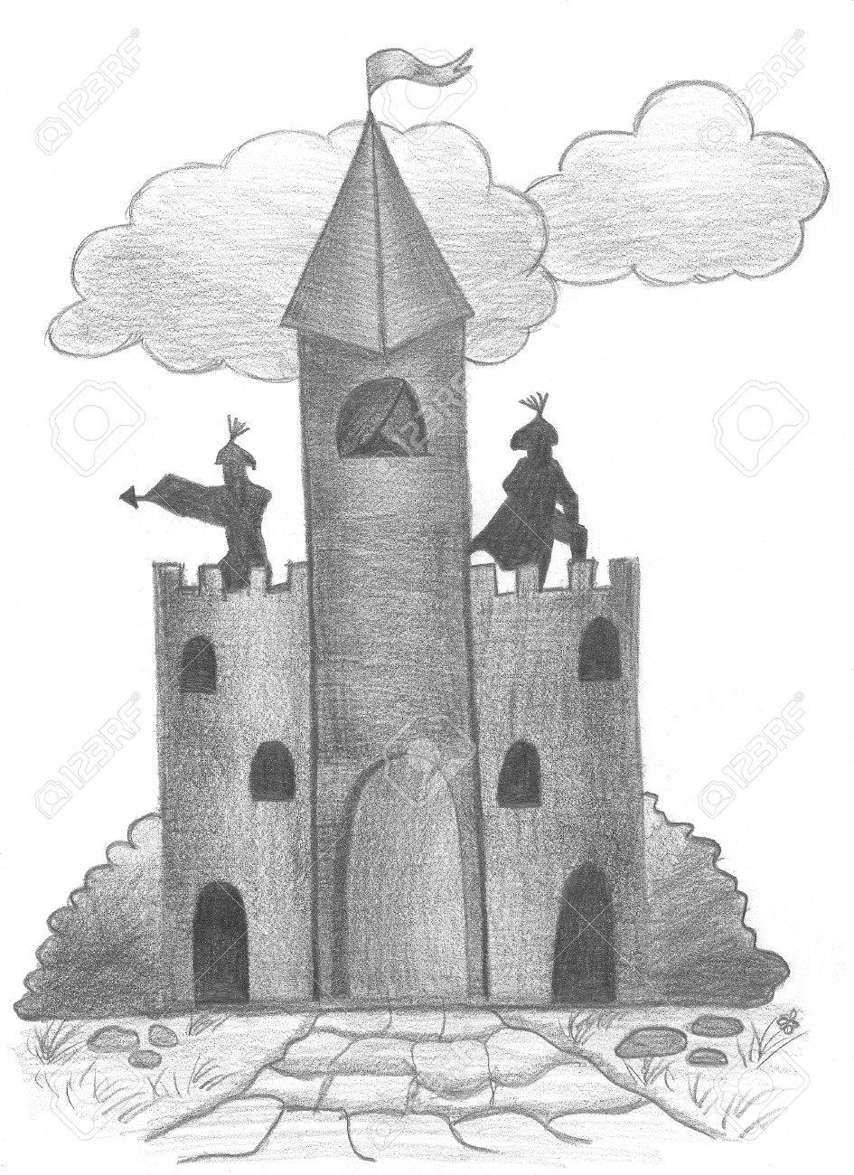 Sketch of fairy castle hand drawing pencil stock photo 31073029