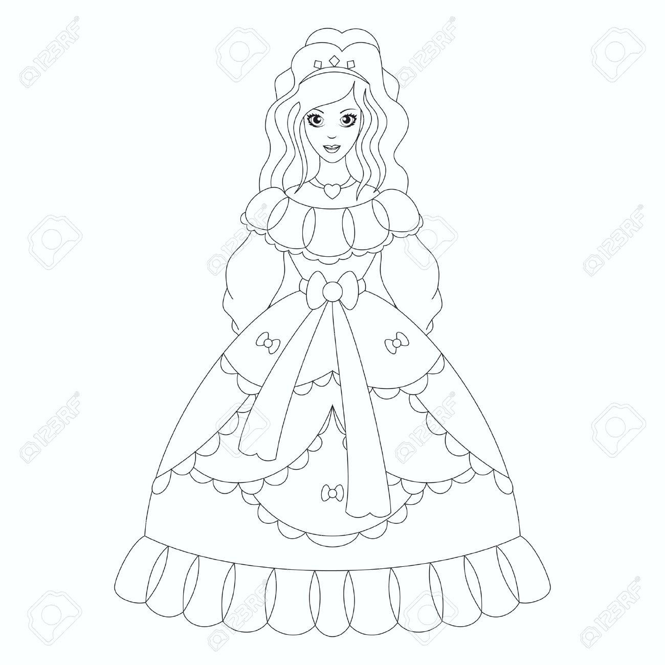 Beautiful princess, coloring book page - 31073033
