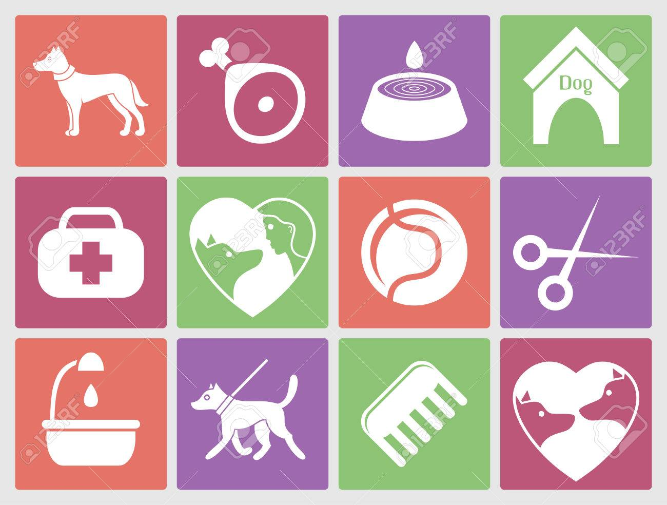 Dog icons set for web. What dogs need - 33429025