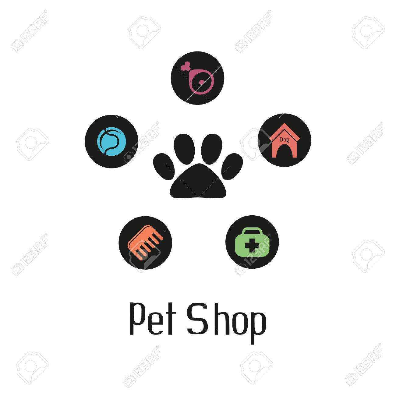 Pet shop logo with pet paw and what dog needs - 33429284