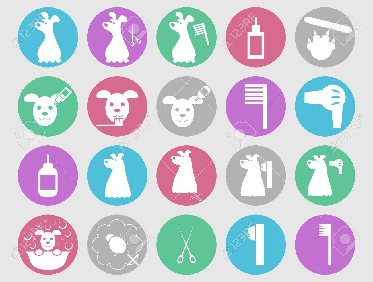 Dog grooming icons set - 34186316