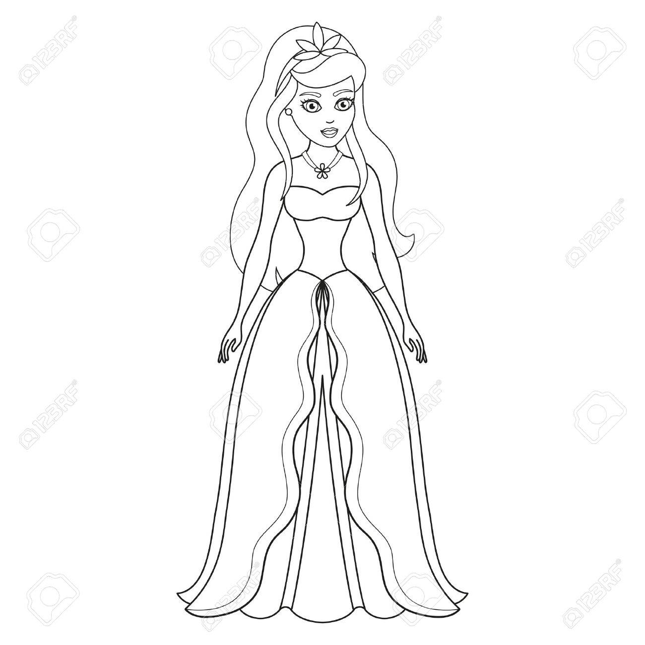 Illustration Of Beautiful Princess Coloring Book Page Royalty Free Cliparts Vectors And Stock Illustration Image 37064238