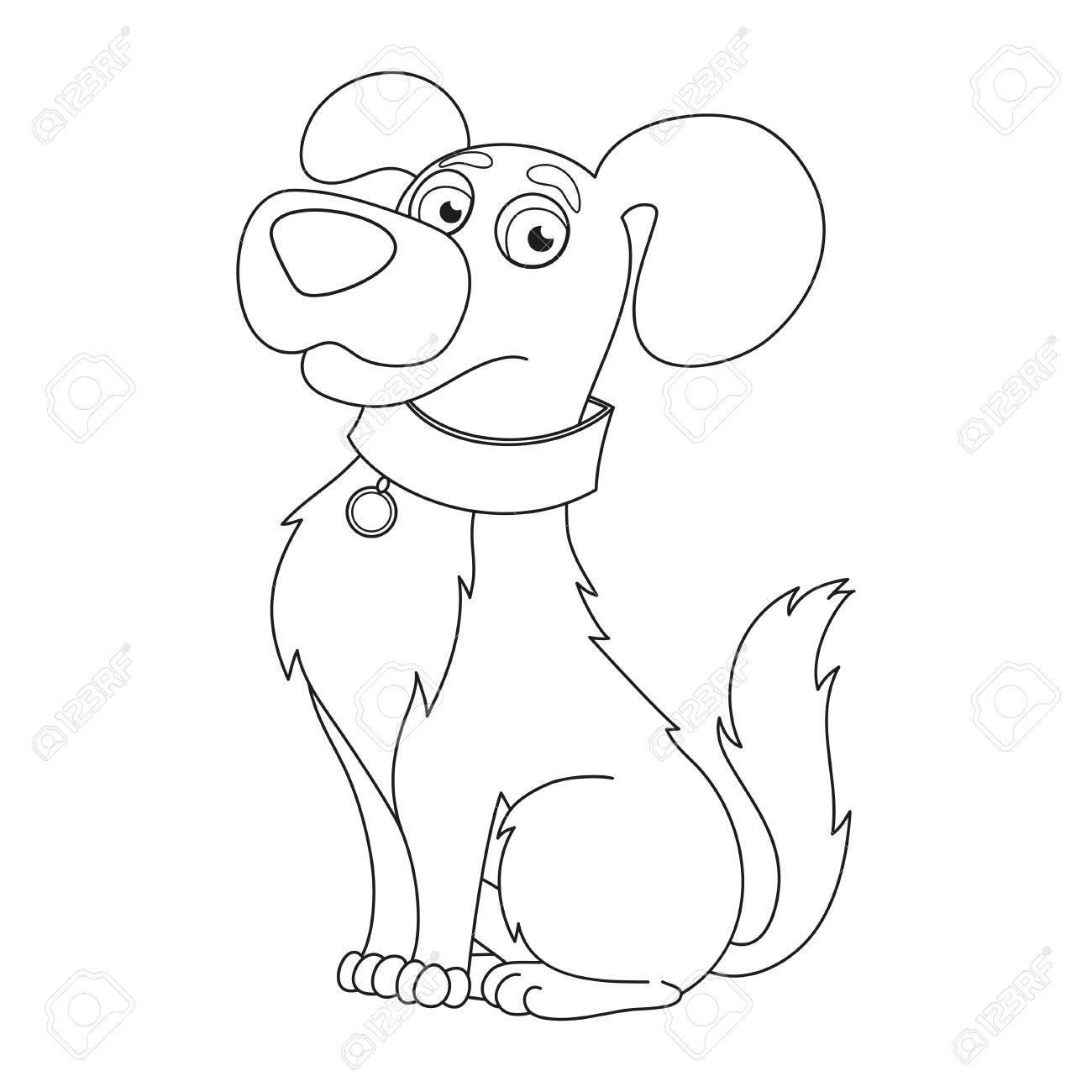 Perrito De La Historieta, Ilustración Vectorial De Lindo Perro Con ...