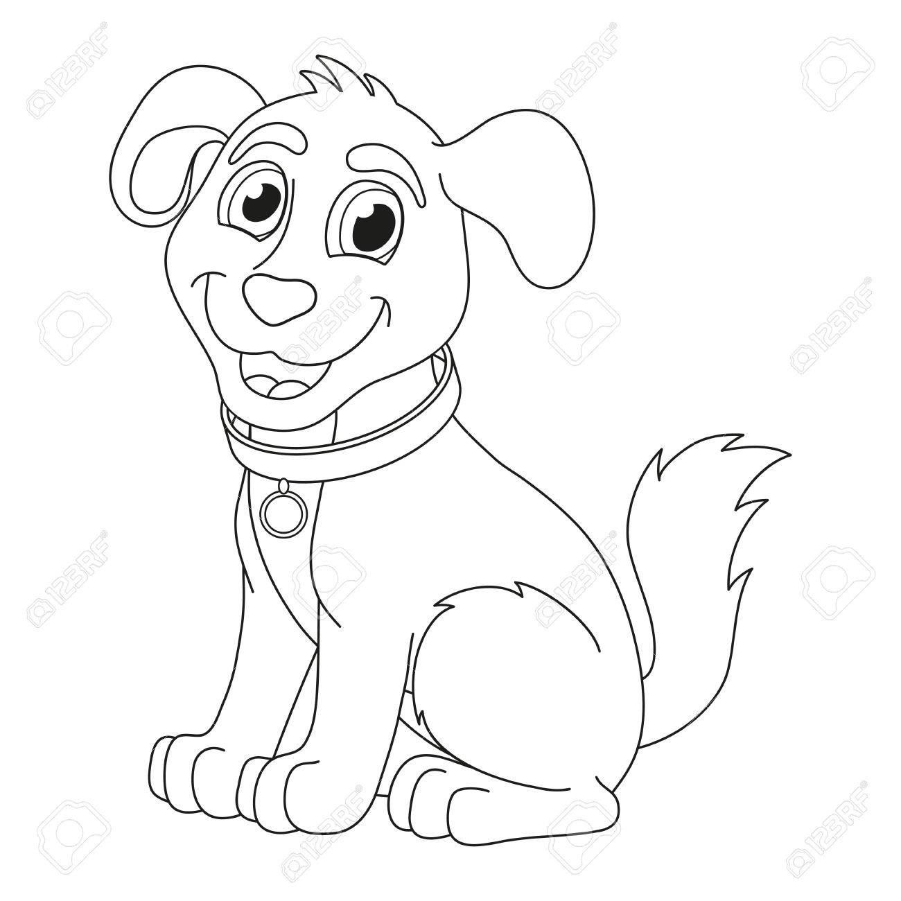 Cartoon Puppy Vector Illustration Of Cute Dog Wearing A Collar With Tag Coloring Book