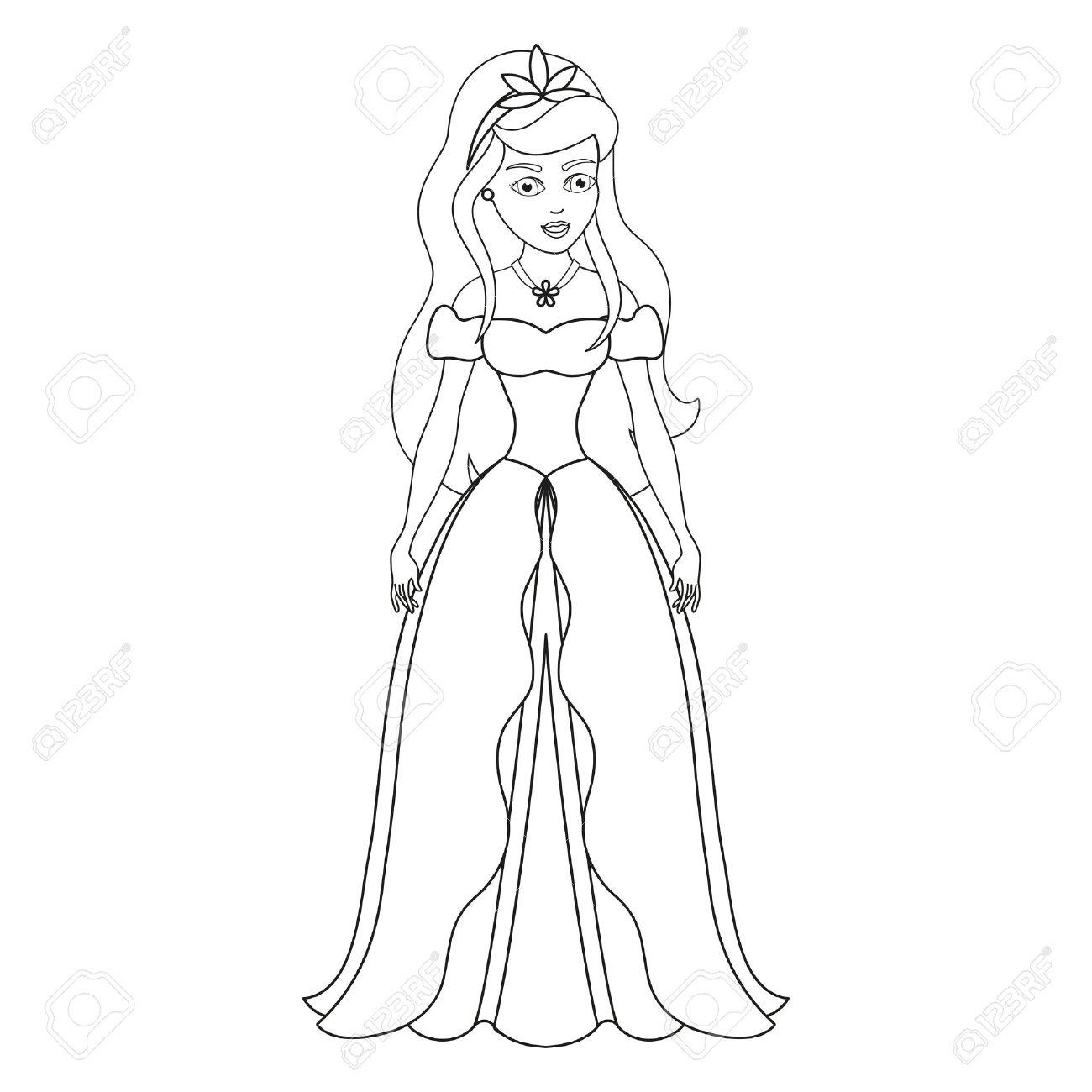 Ilustración De La Bella Princesa Página Del Libro Para Colorear Princesa Dulce Ilustración Vectorial Para Los Niños