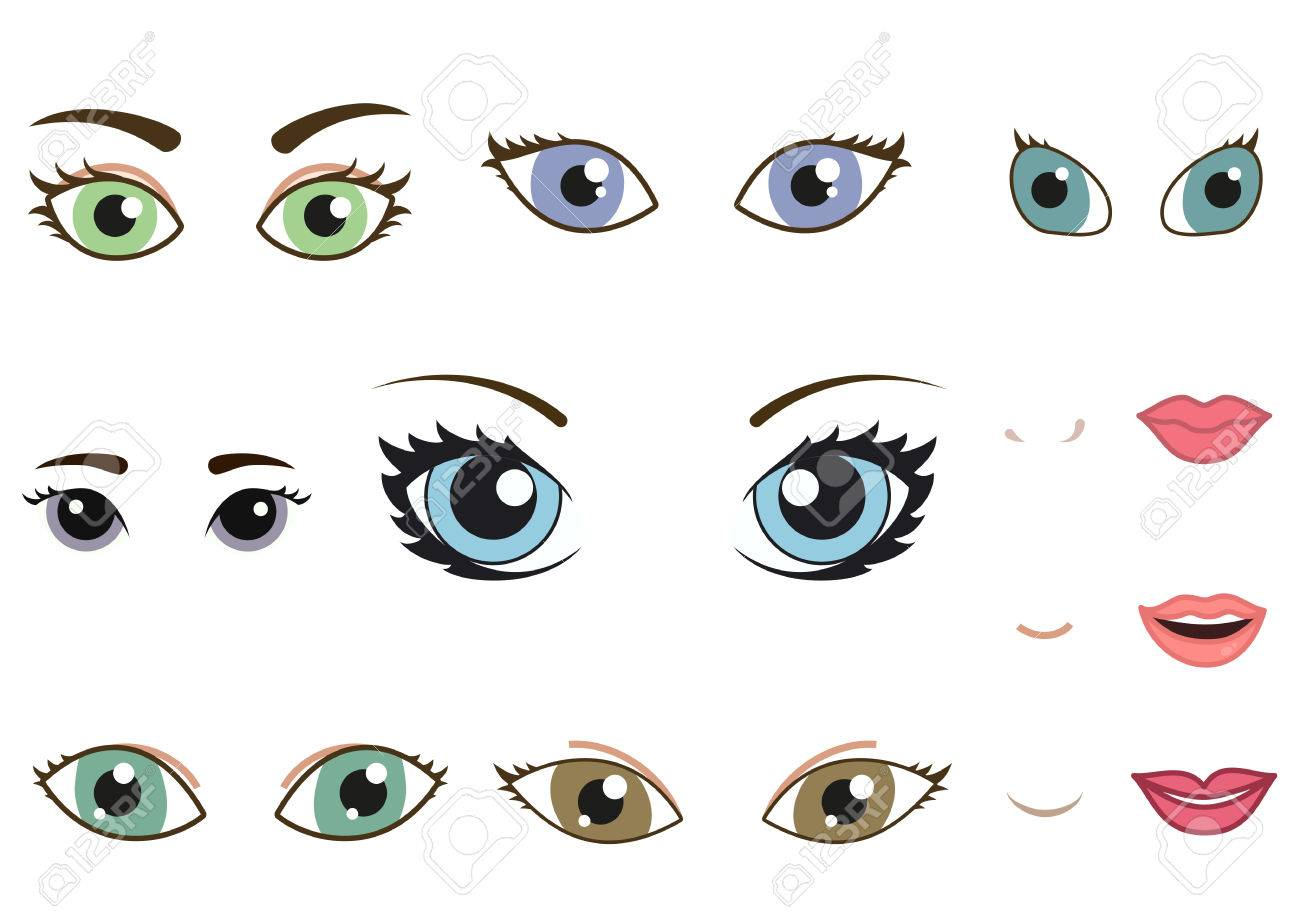 Set of different human eyes eyebrows noses and lips cartoon girl face elements