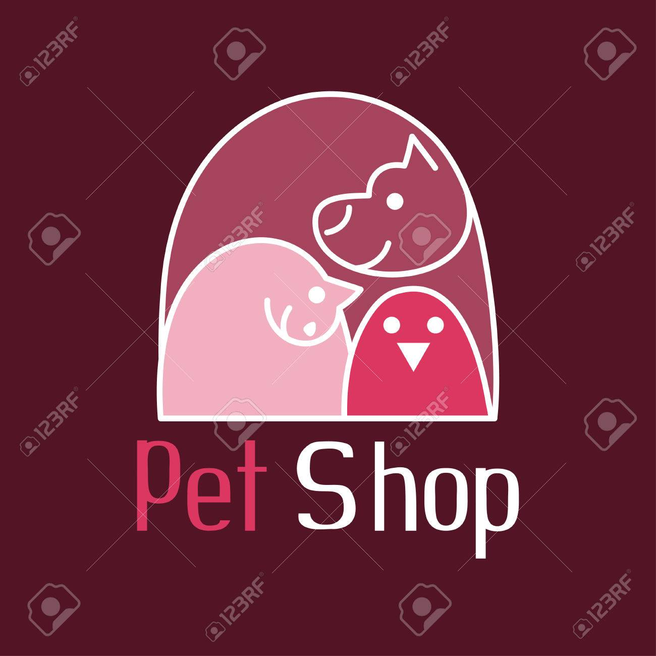 Cat, dog and bird of tender embrace, animals are the best friends, sign for pet shop logo, vector illustration - 43396902