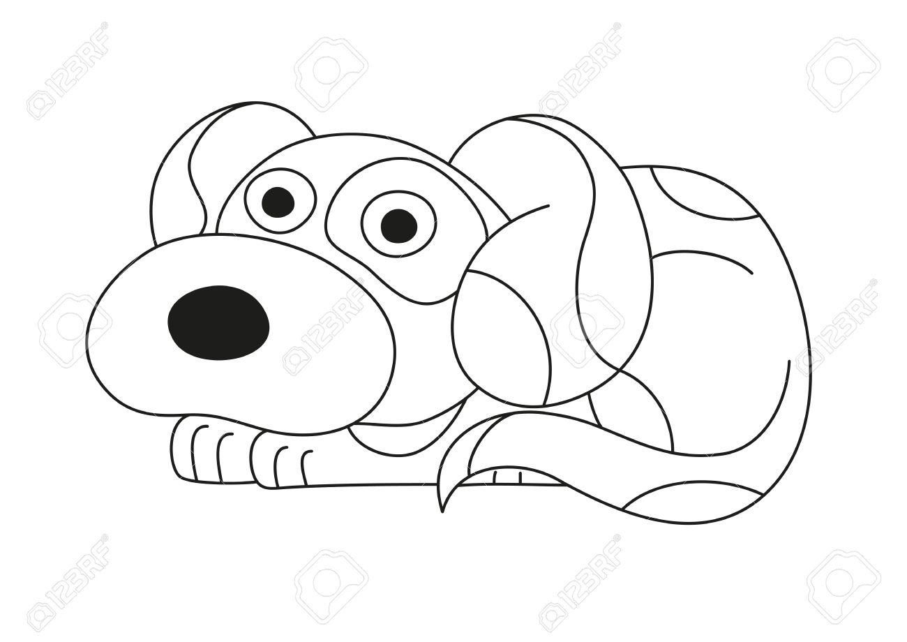 Cachorro De Dibujos Animados, Ilustración Vectorial De Perro Lindo ...