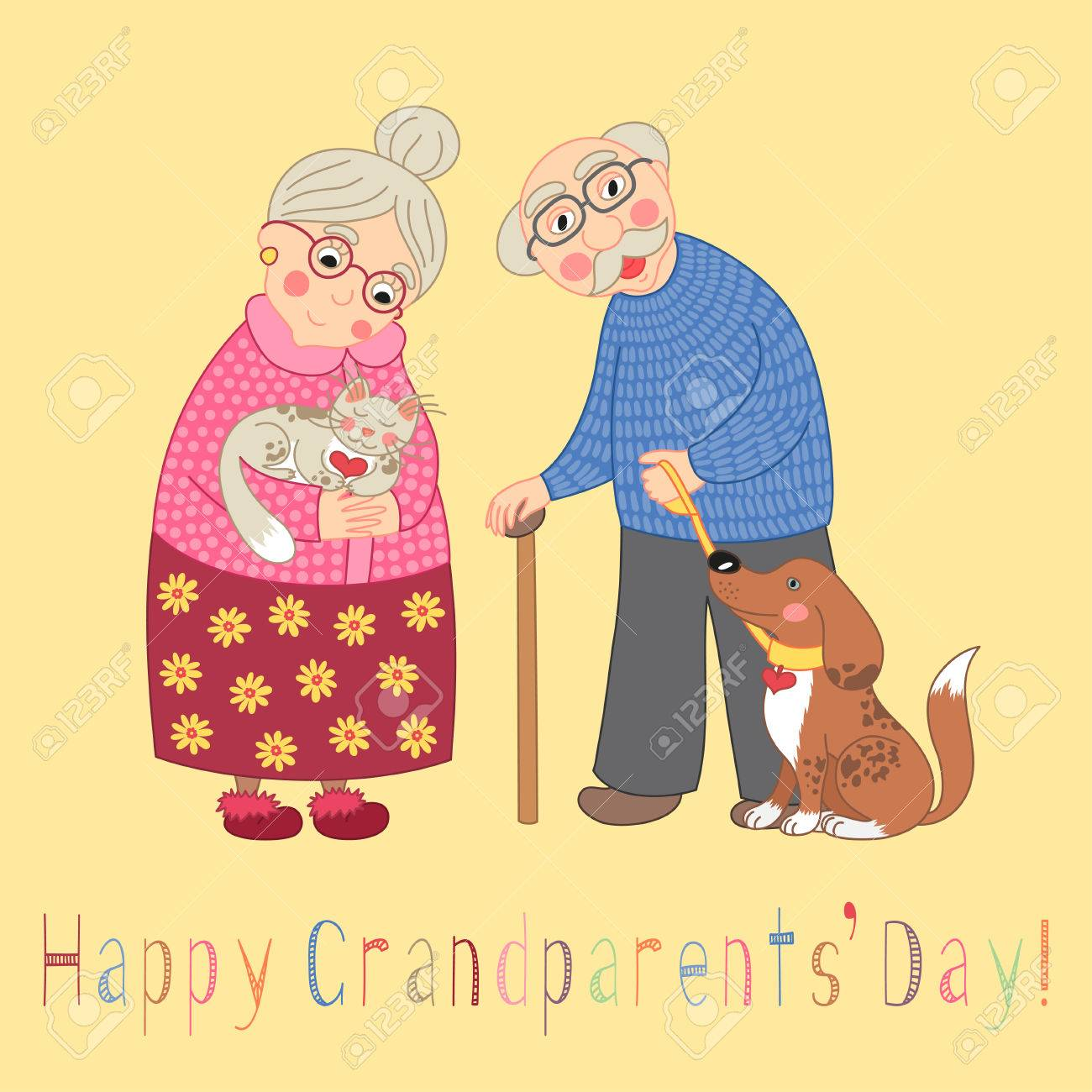 Happy Grandparents Day Card. Poster With Cute Darling Grandmother ...