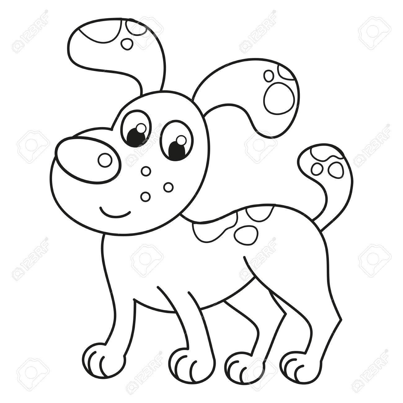 Historieta Sonriente Cachorro Irregular, Ilustración Vectorial De ...