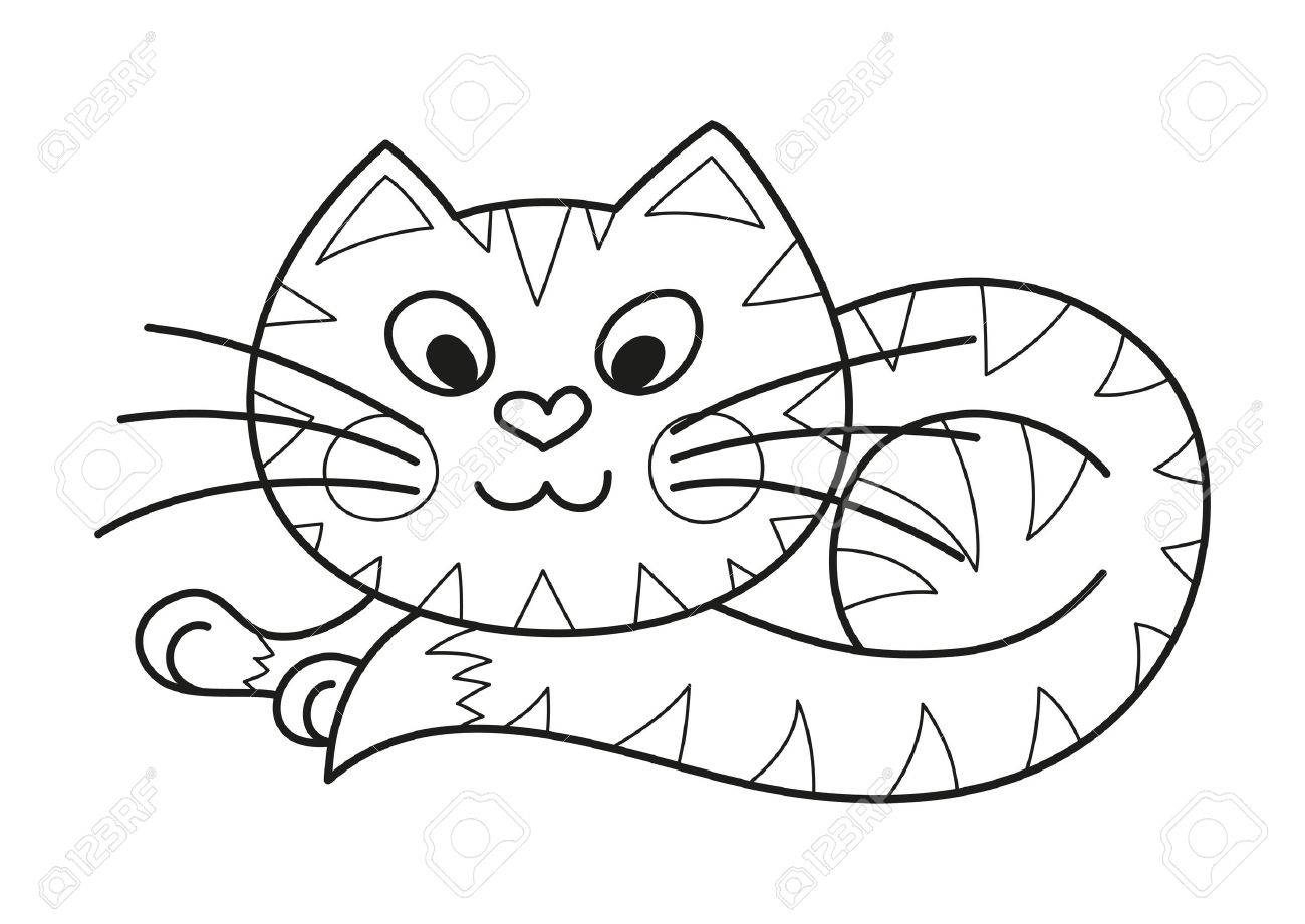 Cartoon plump kitty, vector illustration of funny cute striped cat with kind muzzle, cat smiling and lying comfortably curtailed, coloring book page for children - 44724343