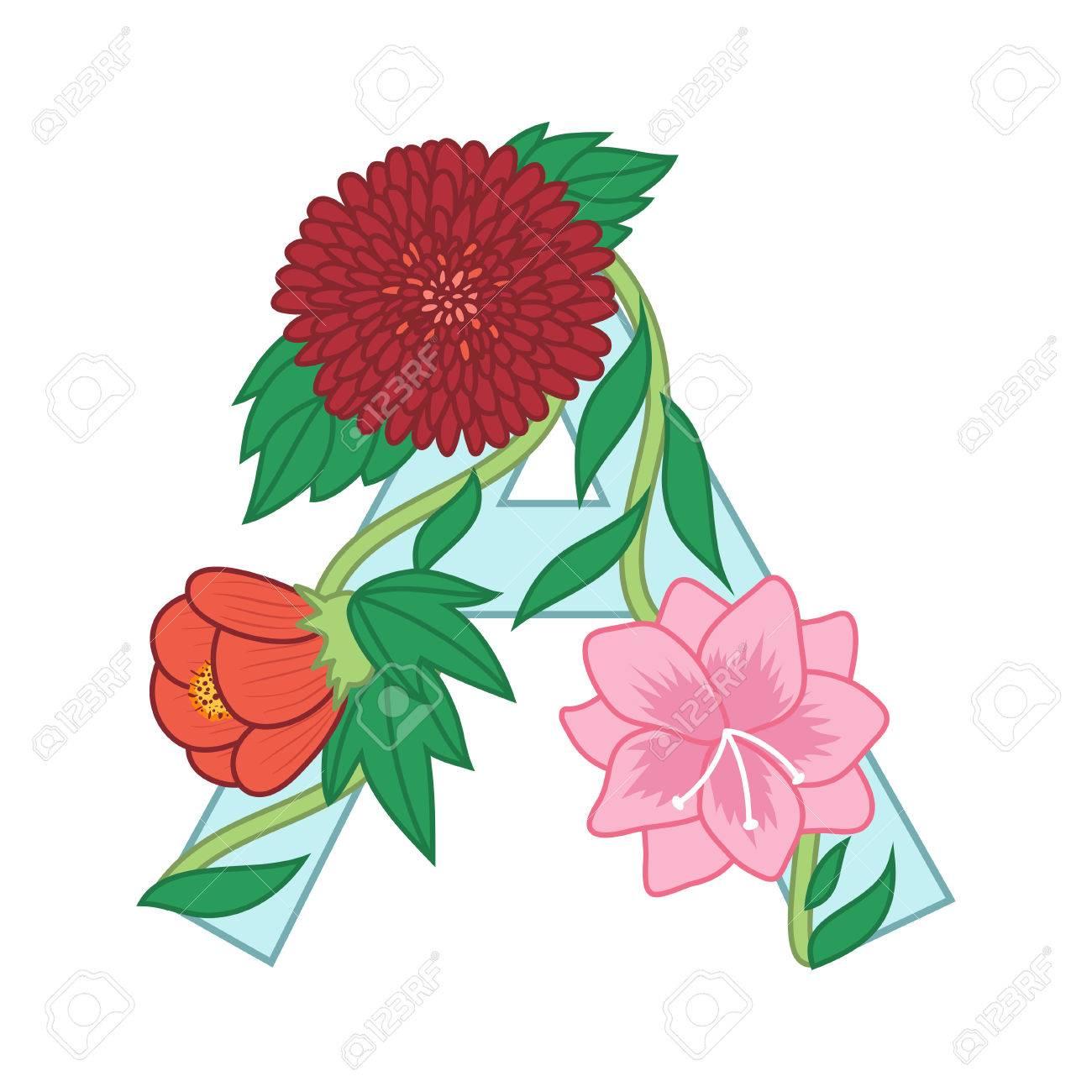 cute flower letter a floral monogram a with vintage flowers rh 123rf com vintage flower vector cdr vintage flower vector free