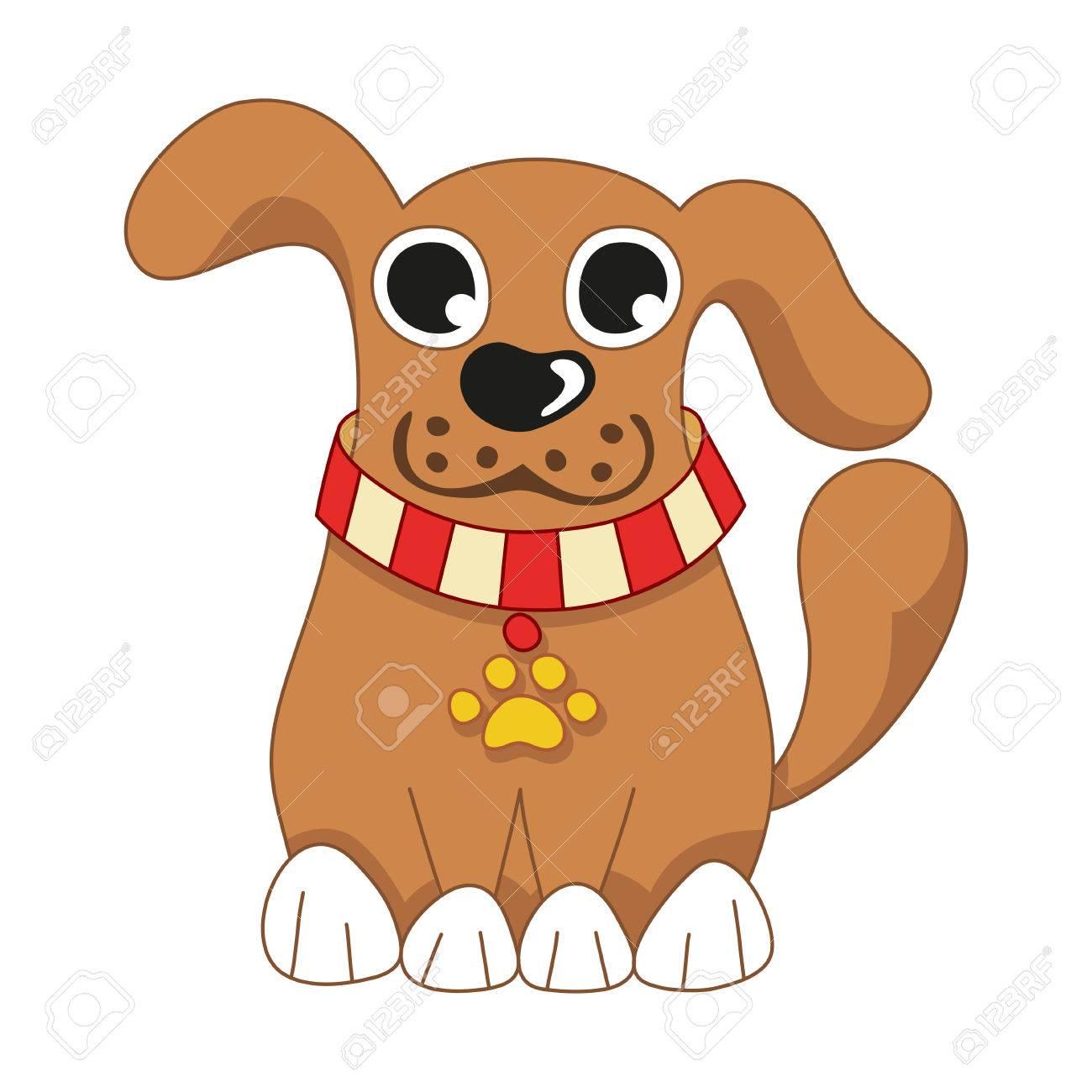 cartoon puppy vector illustration of cute dog wearing a red rh 123rf com puppy vector clipart poppy vector