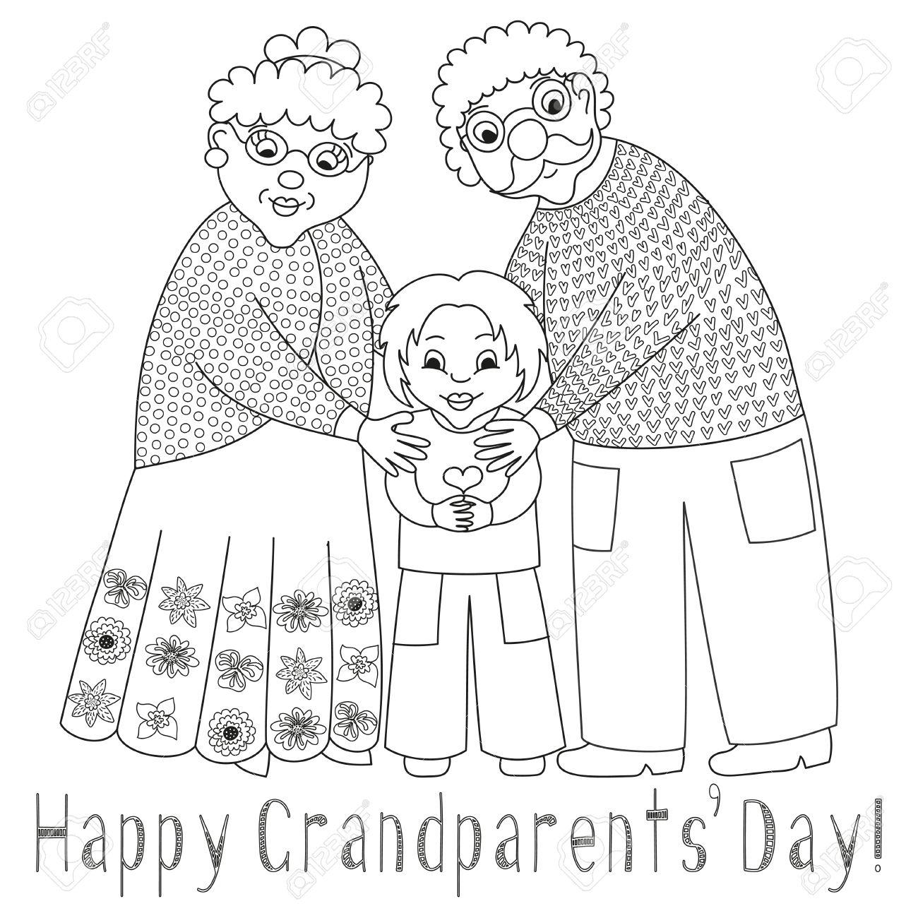 Abuelos Felices De Tarjetas Día. Cartel Con La Abuela Linda Querida ...