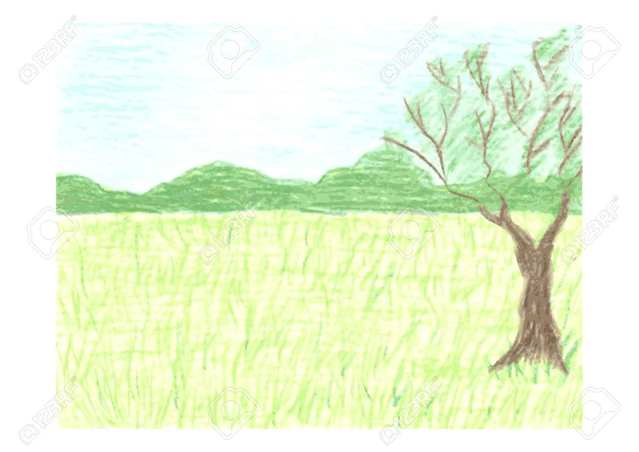 Beau Paysage Avec Foret De L Ete Ciel Pre Vert Et Arbre Au