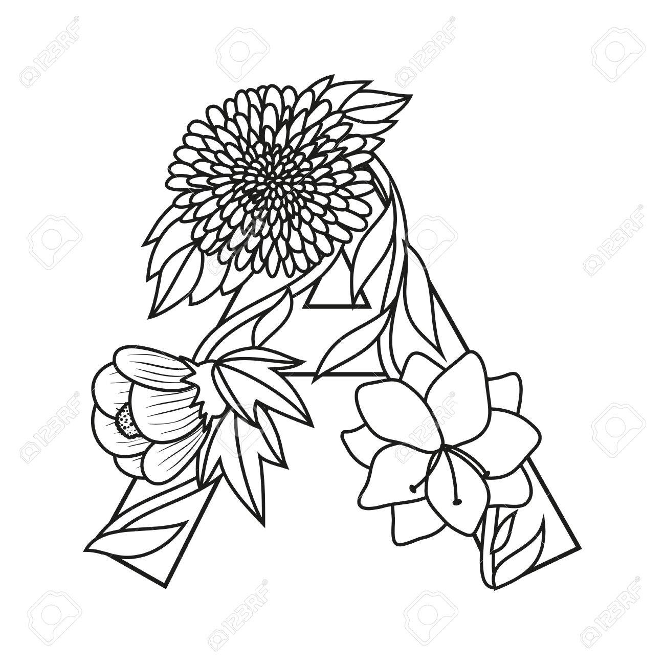 Letra Lindo De La Flor Floral Monograma A A Con Flores De época Que Comienza Con La Letra A Y Tallos De Enredadera Letra Capital De Dibujos