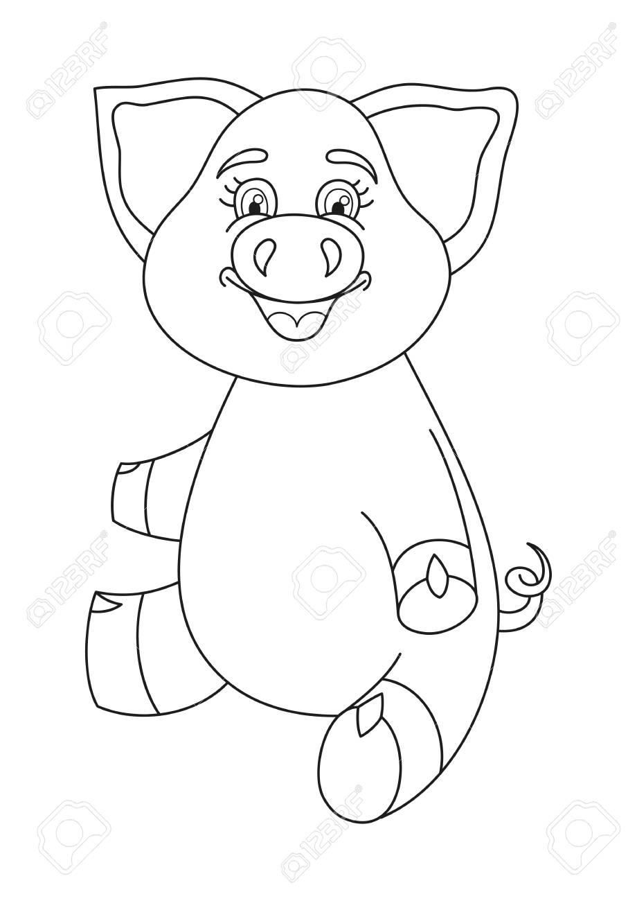 Ilustración Del Vector Del Cerdo Lindo, Divertido Alcancía Sentado Y ...