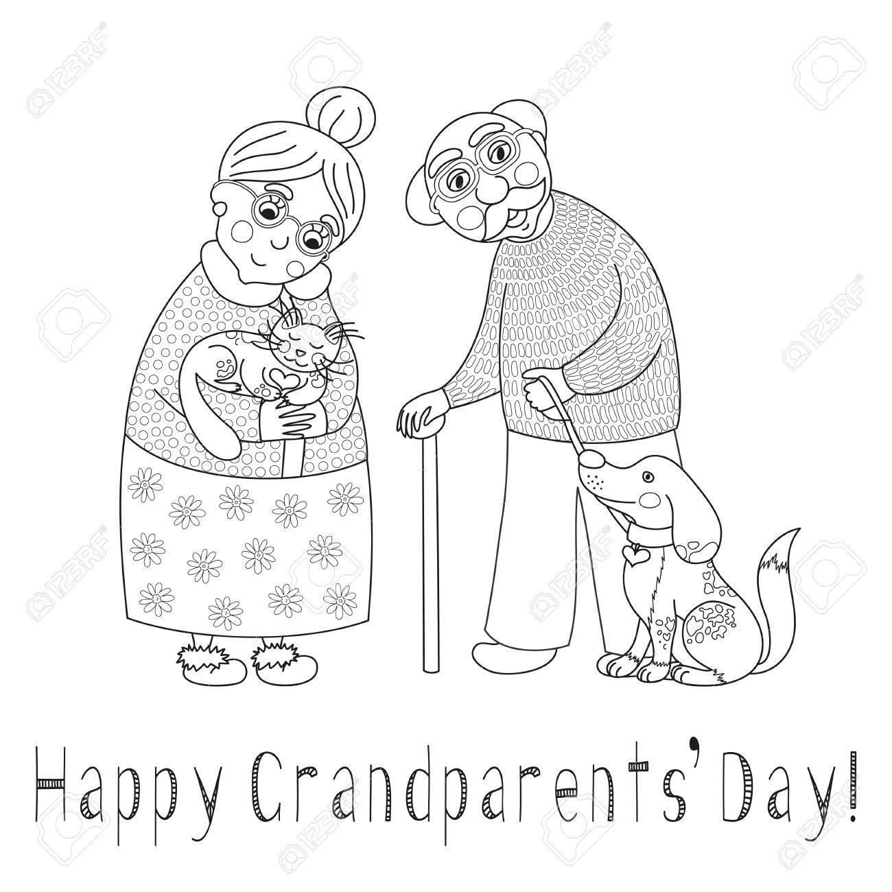 Abuelos Felices Tarjeta Del Día. Cartel Con La Abuela Linda Querida ...