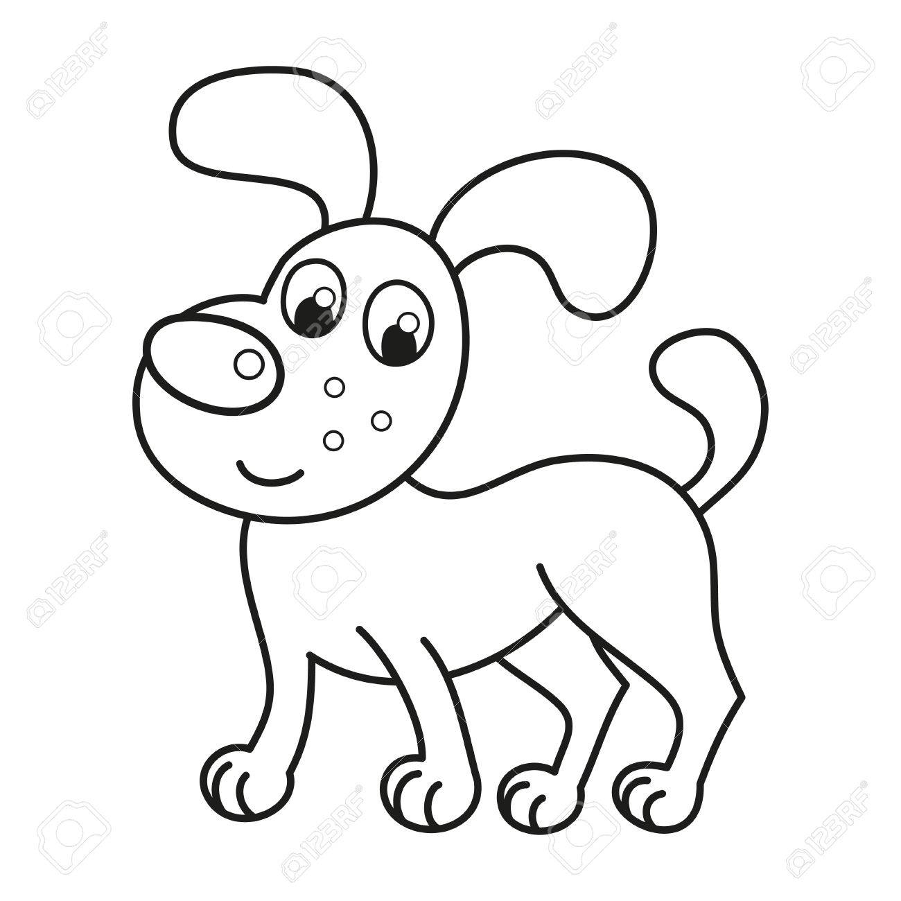 Cachorro De Dibujos Animados Sonriente, Ilustración Vectorial De ...
