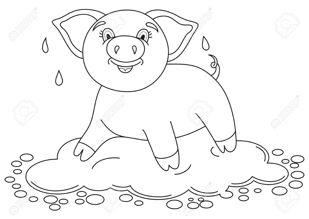 vector illustration of cute pig in a puddle funny piggy standing