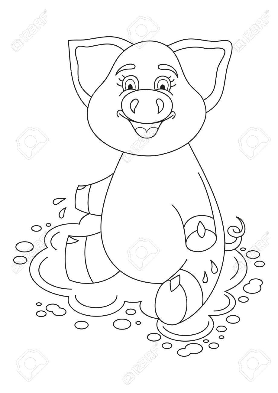 Vector illustration of cute pig in a puddle, funny piggy sits on water puddle, coloring book page for children - 59832806