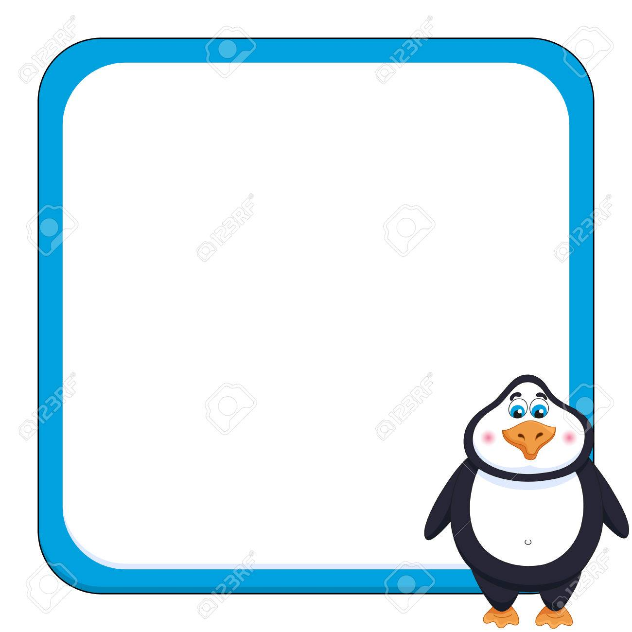 School background with cheerful cute penguin funny frame and birdie - 63042700