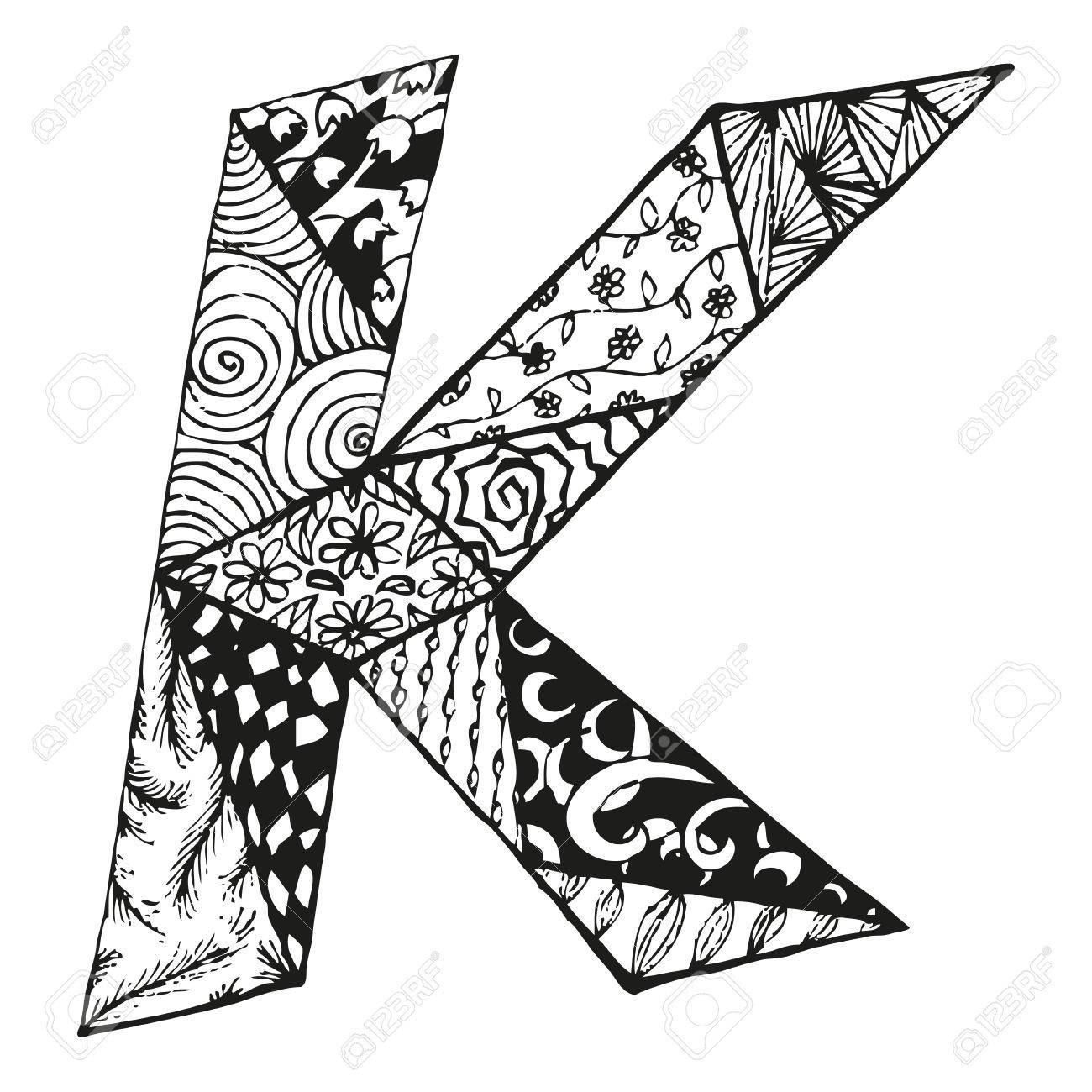 Vintage monogram K. Doodle alphabet character with patterns or coloring book page - 63042914