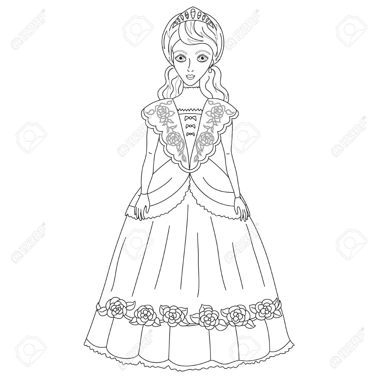 Vector Illustration Of Princess In Ancient Dress  Of A Century