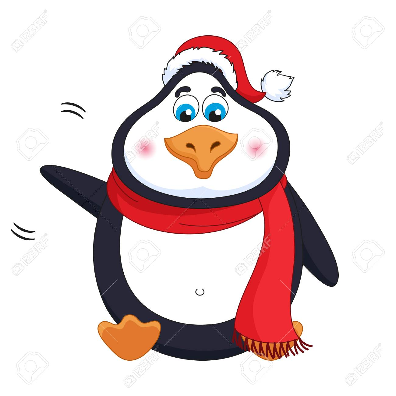 New Years cheerful cute penguin in winter red hat and scarf sits, fat birdie welcomes, waves paw, greets, funny character, vector illustration - 111849170