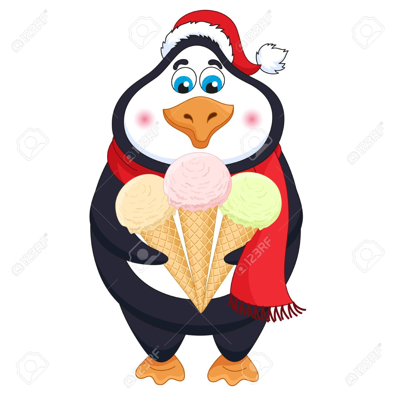 New Years cartoon penguin in red hat with three ice-creams in horns - 134283390