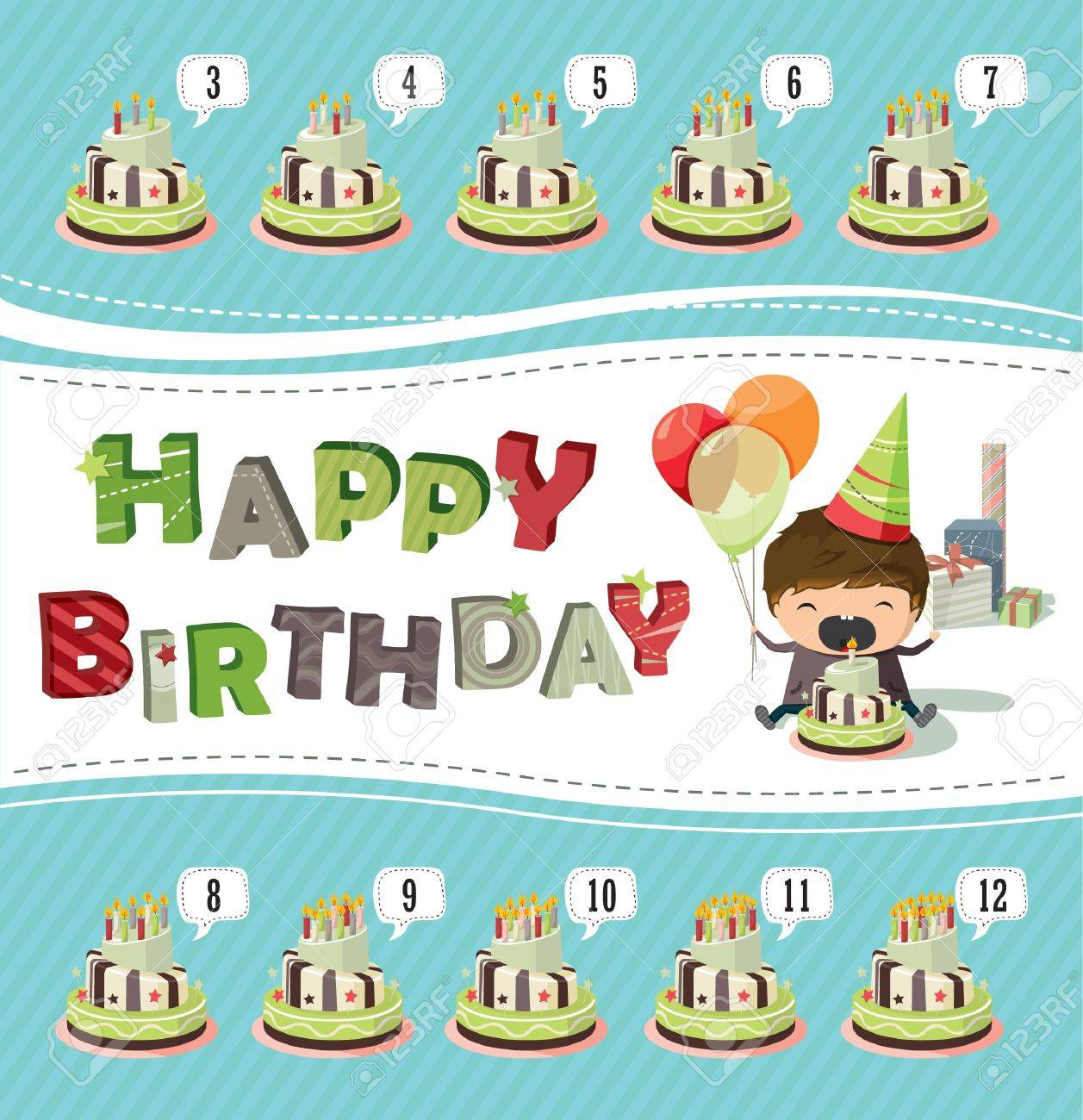 A Birthday Card With A Boy Holding Balloons And Trying To Blow – Birthday Card for Boy