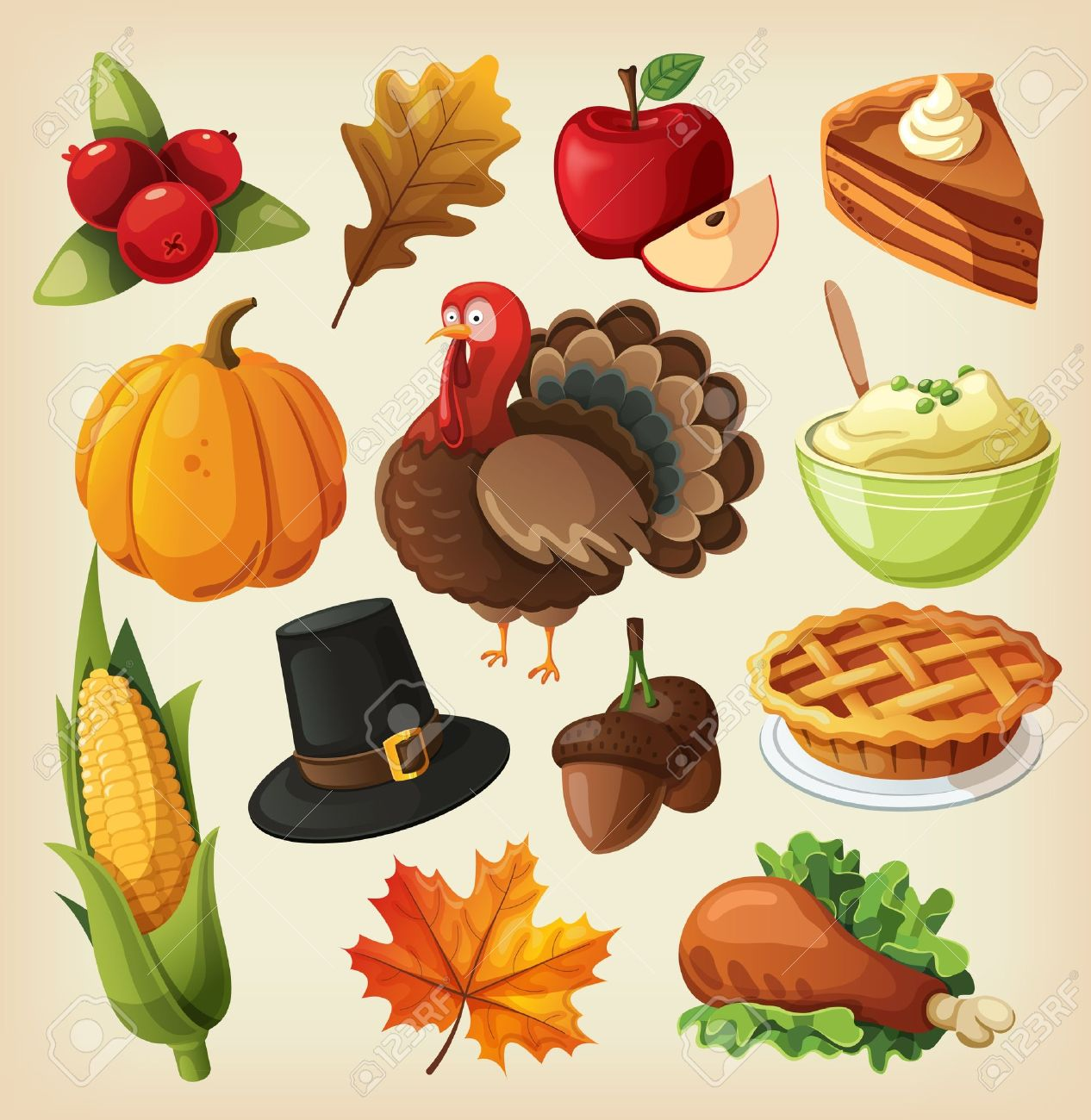 set of colorful cartoon icons for thanksgiving day royalty free