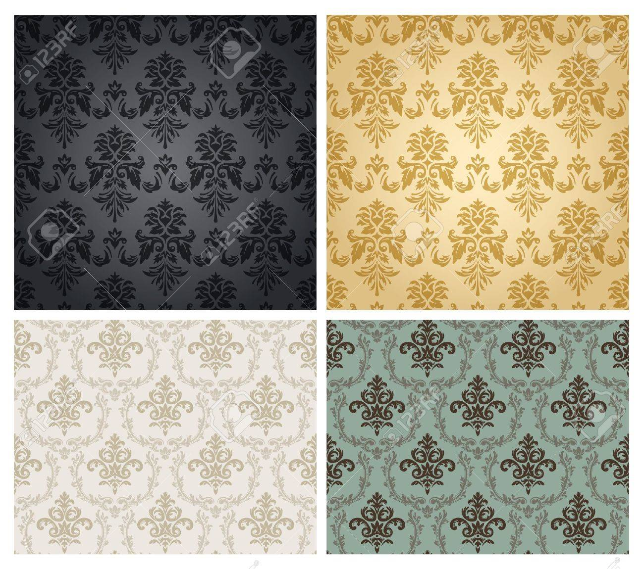 Seamless damask wallpaper pattern  Stock Vector   16237893. Seamless Damask Wallpaper Pattern  Royalty Free Cliparts  Vectors