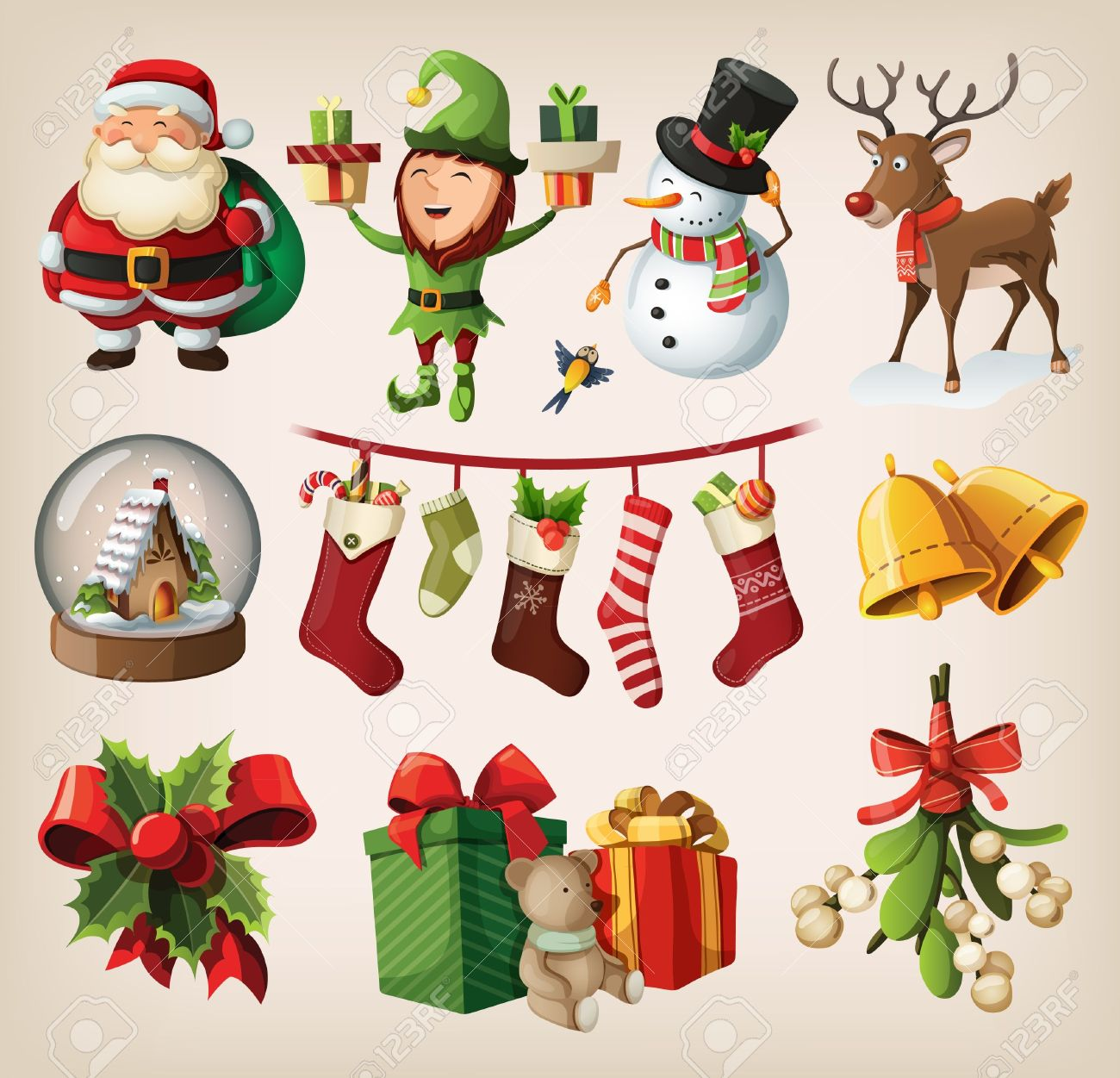 Set of colourful christmas characters and decorations