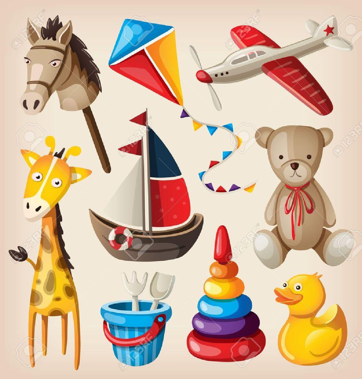 juguetes antiguos conjunto de coloridos juguetes antiguos para nios vectores