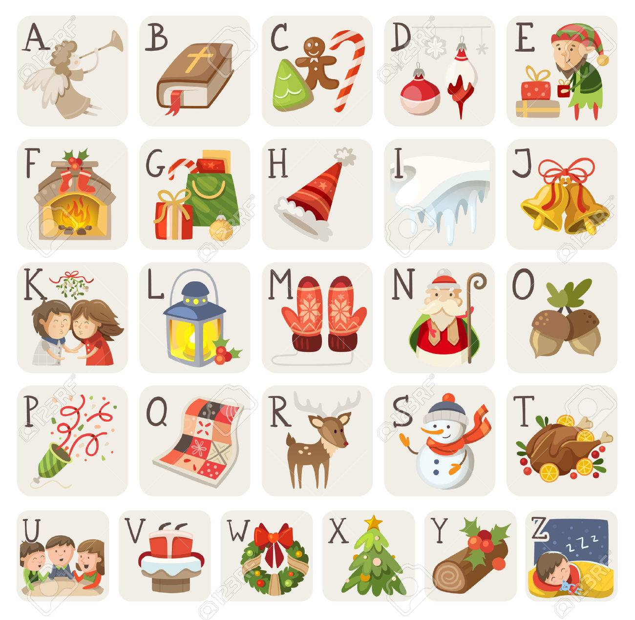 Christmas Items.Set Of Christmas Items Characters And Situations In Alphabet